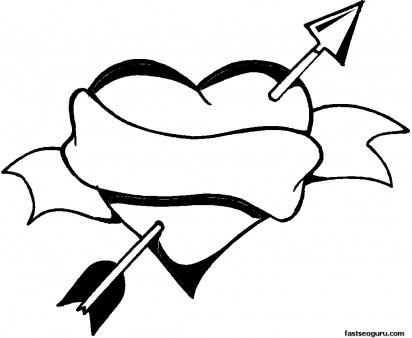 Valentines Day Heart And Arrow Coloring Page