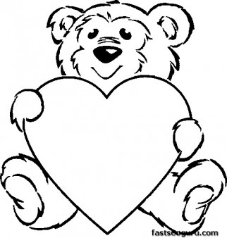 Printable coloring pageValentines Day Teddy Bear with Heart for girls