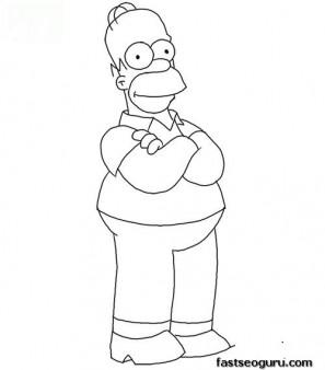 Printable Homer Simpson Coloring Page