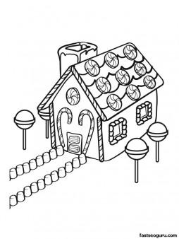 Printable Christmas gingerbreads house coloring sheet