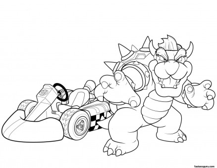 Printable Super mario and Bowser coloring pages