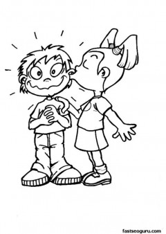 Printable Valentines girl kissing boy coloring page