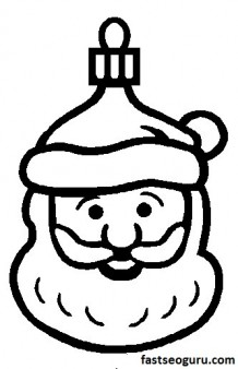 Print out Santa claus face  decorating a Christmas tree coloring page