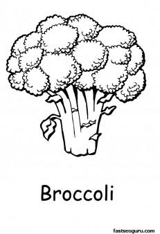 Printabel vegetable Broccoli coloring page