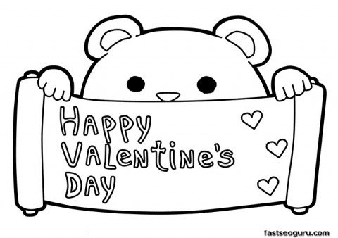 Printable happy Valentines Day coloring pages februar 14
