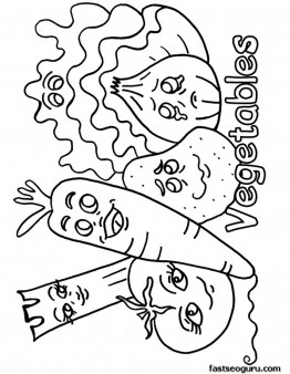 printable Mix Vegetables coloring pages