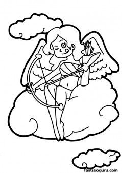 Printable happy Valentines Day Cupid girl coloring pages