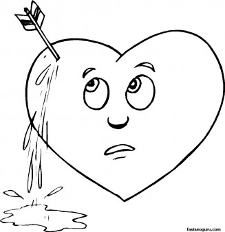 Printable Valentines Day Pierced Heart Coloring Page