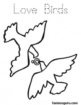 Printable Valentines Day Love Birds coloring page