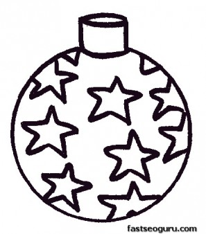 A star bauble decorating a Christmas tree coloring page
