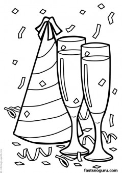 Printable Happy new year celebration coloring page