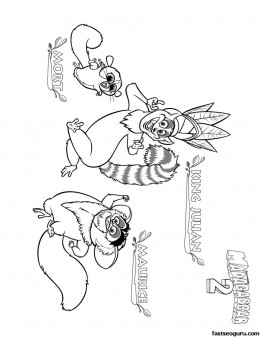 Printable Madagascar 3 King Julian Maurice and Mort coloring page