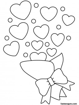 Printable Valentines Day Bouquet coloring pages