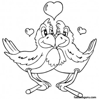 Free Printable Valentines Day two birds are in love coloring page