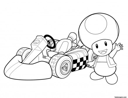 Print out Super mario and Toad coloring pages