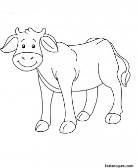 Printable Farm animal Baby cow Coloring page