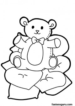 Printable Valentines Day cute teddy bear with heart coloring pages