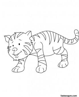 Printable animal Baby tiger Coloring page for kids