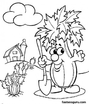 Pritnable vegetable Toadstool  coloring page for childrens