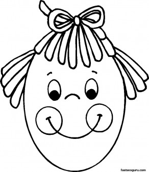 Printable Easter Face of Girl on egg Coloring Page