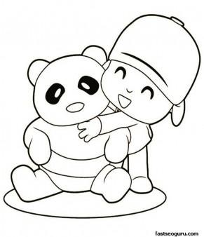Printable coloring sheet characters Pocoyo and a bear panda