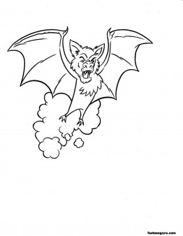 Halloween bate coloring page for kids