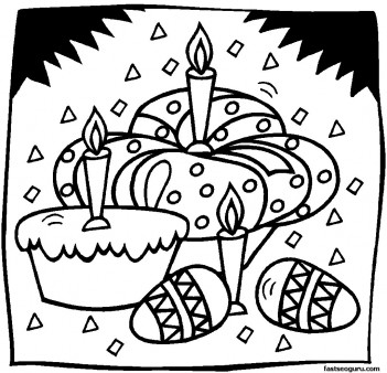 Printable Easter Eggs And Cakes Coloring Pages