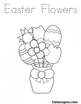 Printable Easter Flowers coloring pages for kids