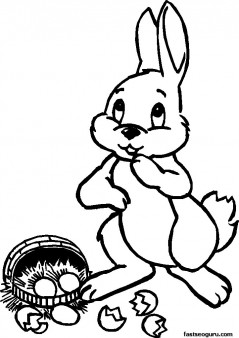Printable Easter Bunny And Dropped Basket Coloring Page