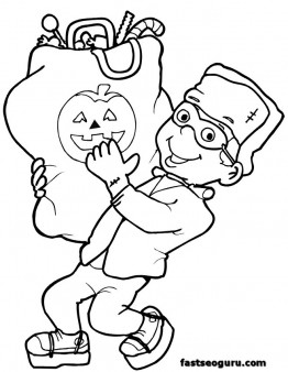 Halloween boy with candy coloring pages