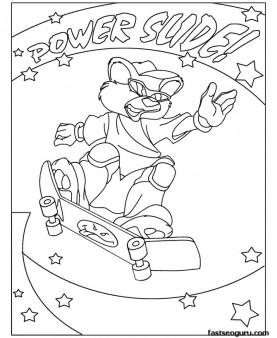 Printable animal Skateboard Bear coloring pages