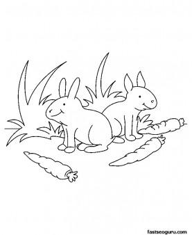 Printable Farm Animal Baby rabbit Coloring page for kids