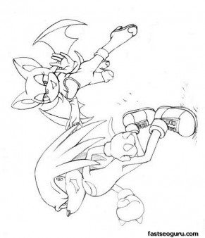 Printable cartoon Sonic the Hedgehog  Knuckles and Rouge Coloring pages.