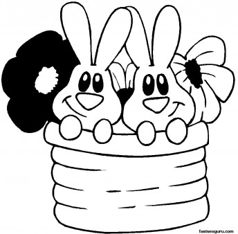 Printable Easter Bunnies And Flowers Coloring Page