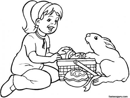 Printable Easter Girl And Bunny egg Coloring Page