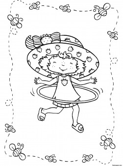 Printable cartoon Strawberry Shortcake coloring pages for girls hula hoop