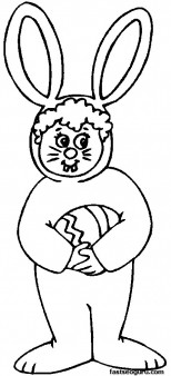 Printable Easter Child In Bunny Costume Coloring Page