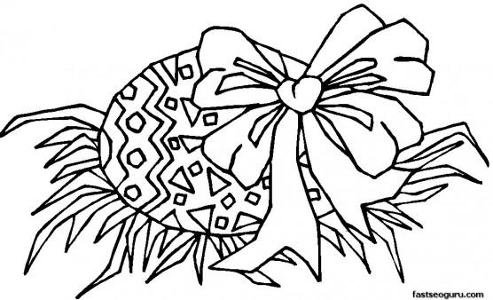 Printable Easter Egg With Bow Coloring Page