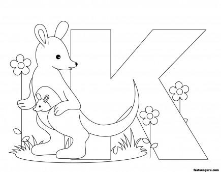 Printable Animal Alphabet worksheetsLetter K for Kangaroo