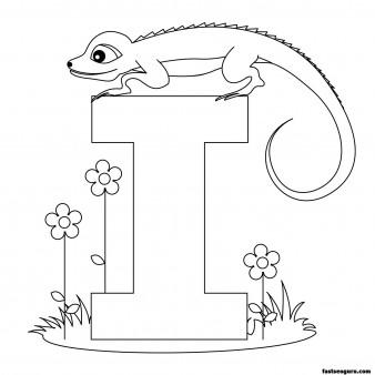 Printable Animal Alphabet Letter I for Iguana