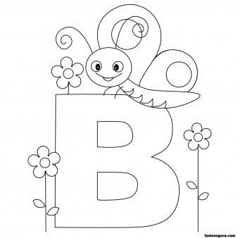 Printable Animal Alphabet worksheets Letter B Butterfly