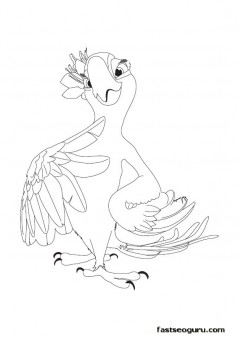 Printable Cartoon Jewel Rio Coloring Pages for kids