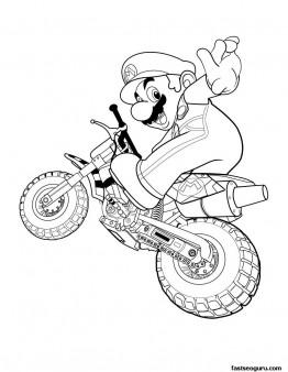 Printable Super mario with motorcycle
