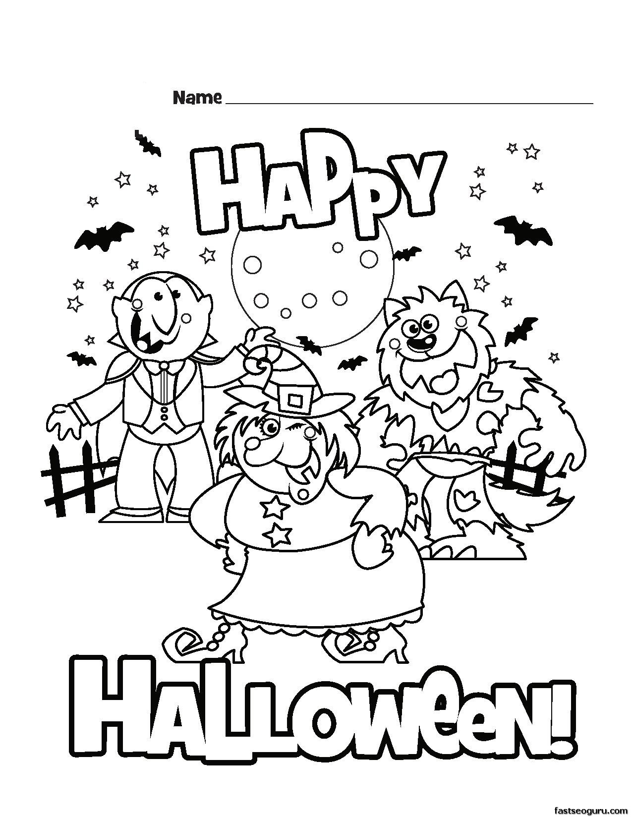 This is a graphic of Halloween Coloring Pages Printable intended for vampire