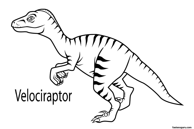 Printable dinosaur velociraptor coloring in sheets ...