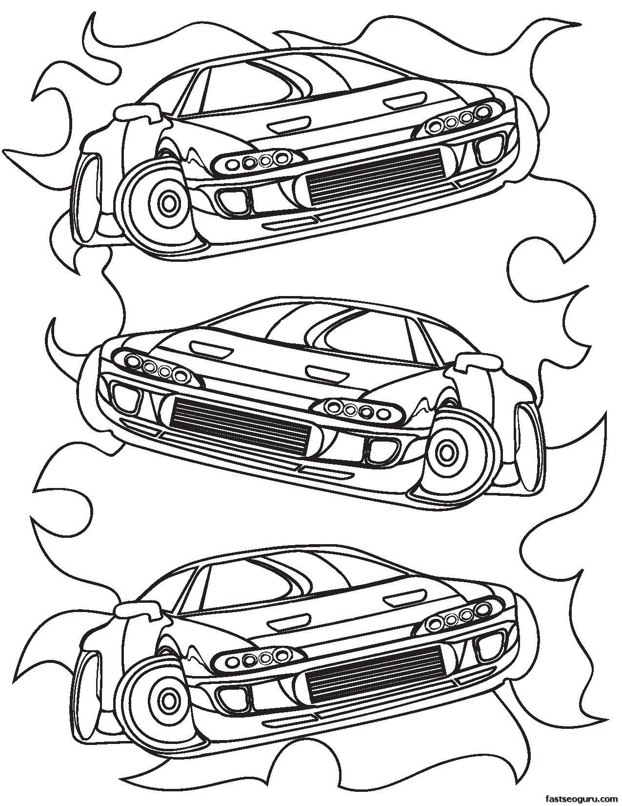 Printable for boy Race Car Coloring sheet