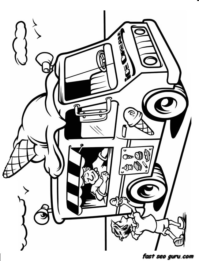 Printable Ice Cream Truck Coloring In Sheet