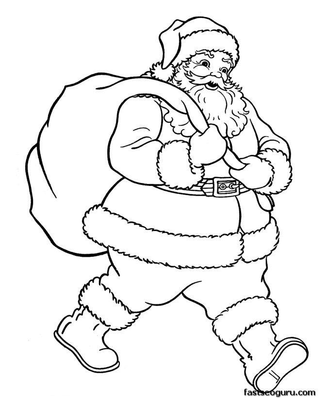 Santa Claus with Christmas gifts bage coloring pages ...