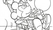 Print out mickey mouse and pluto on beach coloring  in pages