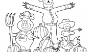 Printable Thanksgiving scarecrow pig and duck coloring page